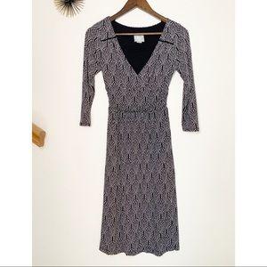 ❤️Anthro Maeve Long Sleeve V Neck Patterned Dress